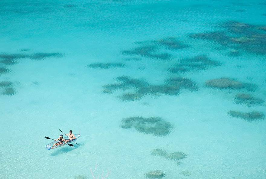 Glass bottom sea kayaks are a beautiful way to explore the waters around Lizard Island.